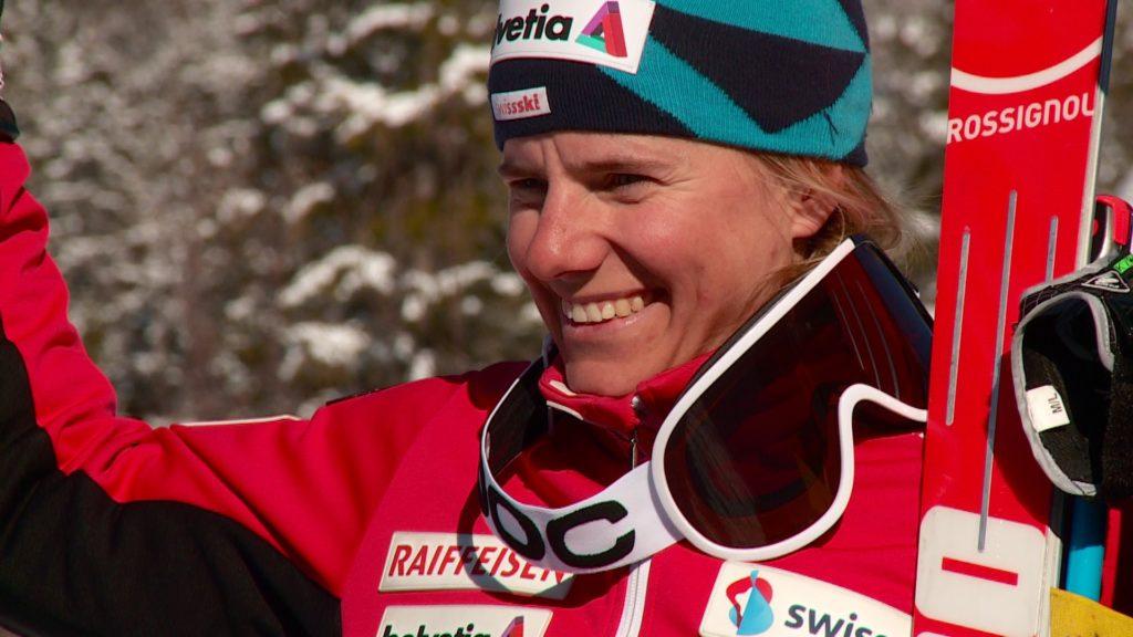 Skifahrerin Reymond auf Podest